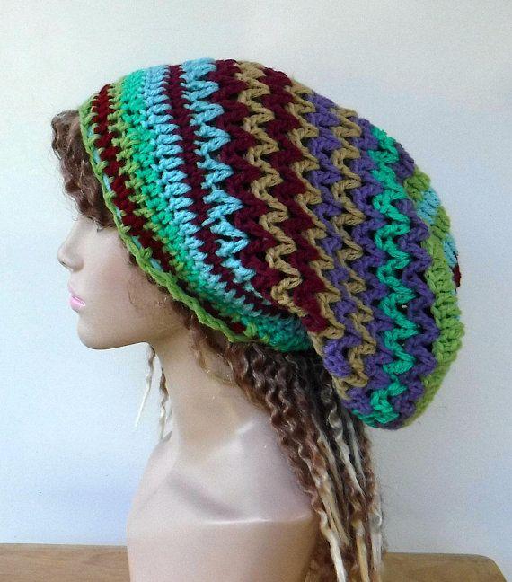 OOAK retro hippie beanie/patchwork Dread tam hat ...
