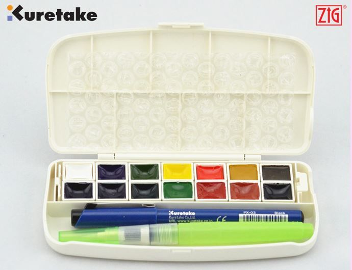 Kuretake Transparent Watercolor Paint Set 14 Colors With Water