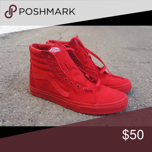 600b56d4641eda All red high top vans Size 8.0 in men   9.5 in women. Minor scratch. Vans  Shoes Sneakers