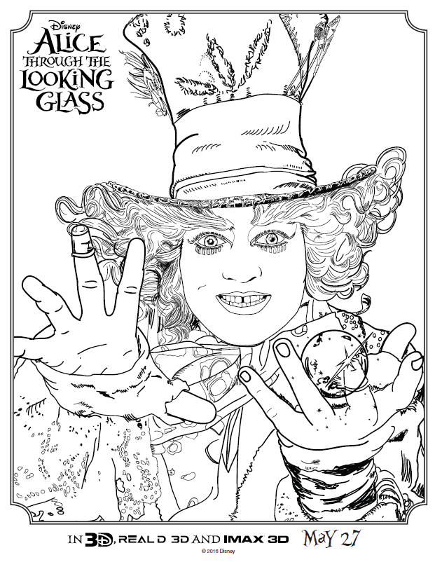 Alice Through The Looking Glass Coloring Sheets | Disney Love ...