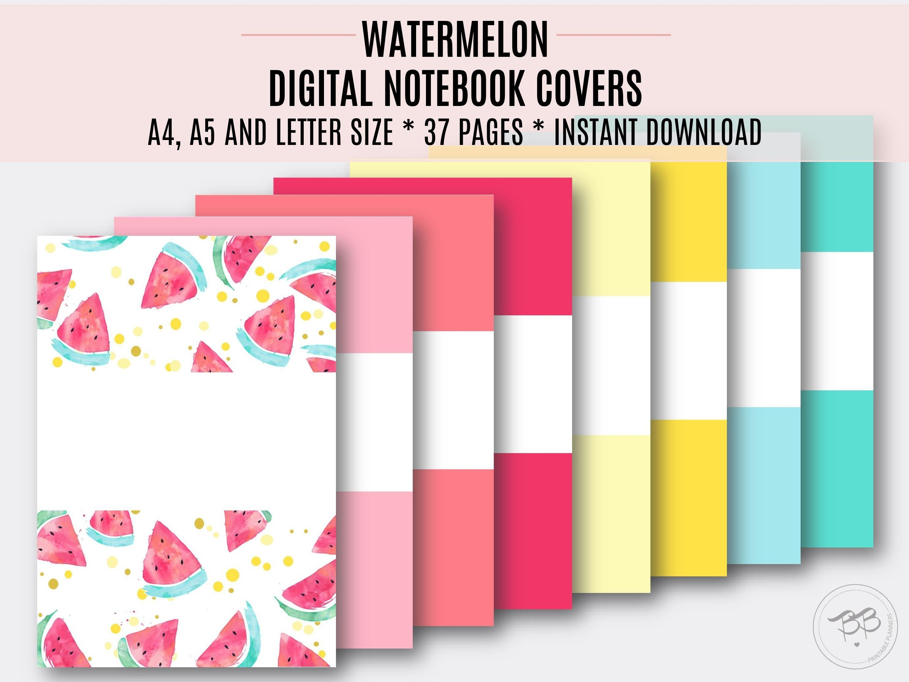 Watercolor Digital Notebook Covers Pastel Colors Pdf 3 Sizes A4