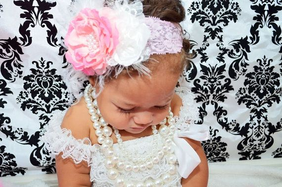 LITTLE MISS MAY Vintage Lace and Feather by AdornedCreations, $18.99