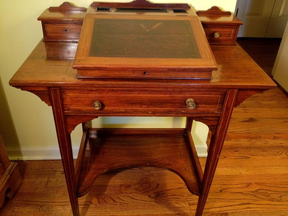antique cherry desk with hinged top large drawer and topper great woodwork