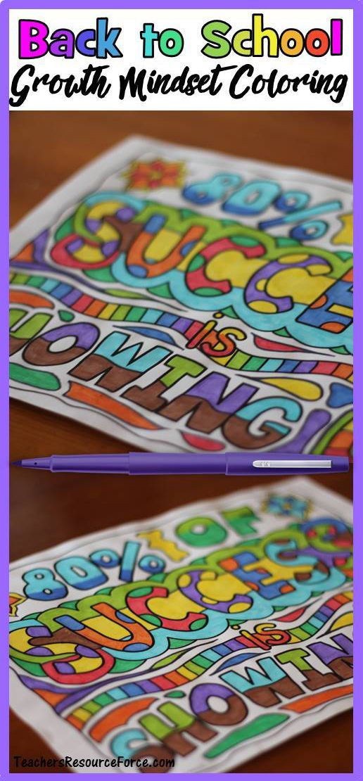 Growth Mindset Positive Quotes Coloring Pages Back To School