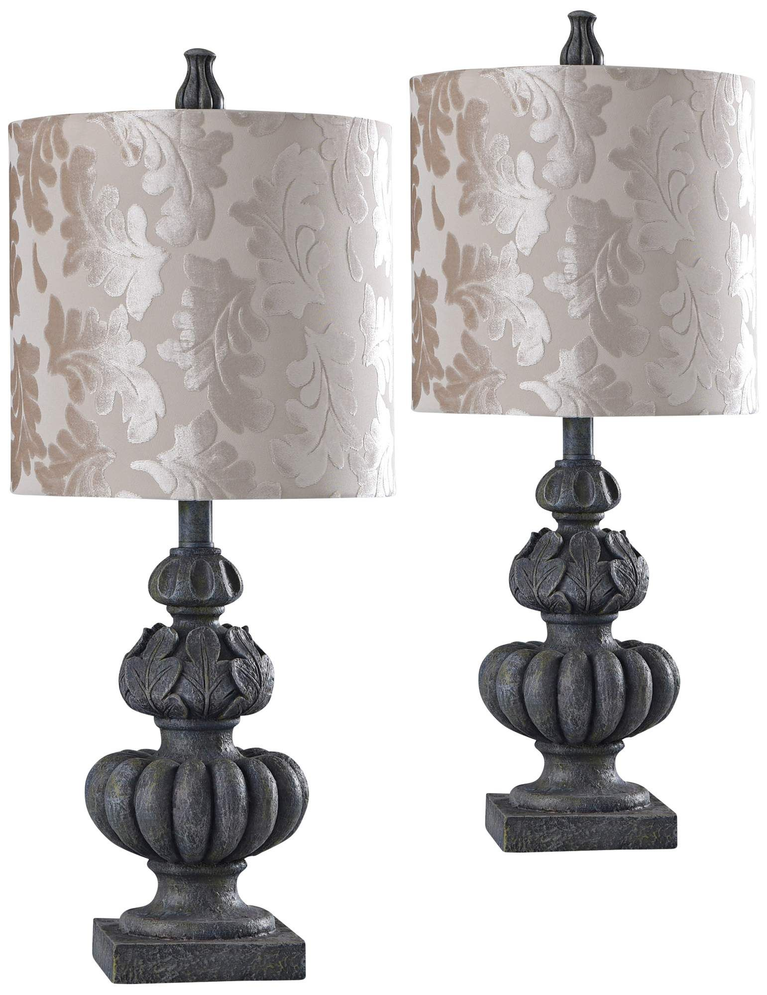 Rye Slate Stone Table Lamp With Acanthus Leaf Print Shade Di 2020