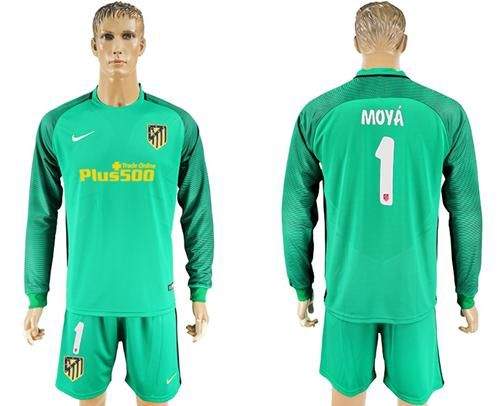 6e81fcbef ... 2017-2018 Atletico Madrid 1 Moya Green Goalkeeper Long Sleeves Soccer  Club Jersey Argentina ...
