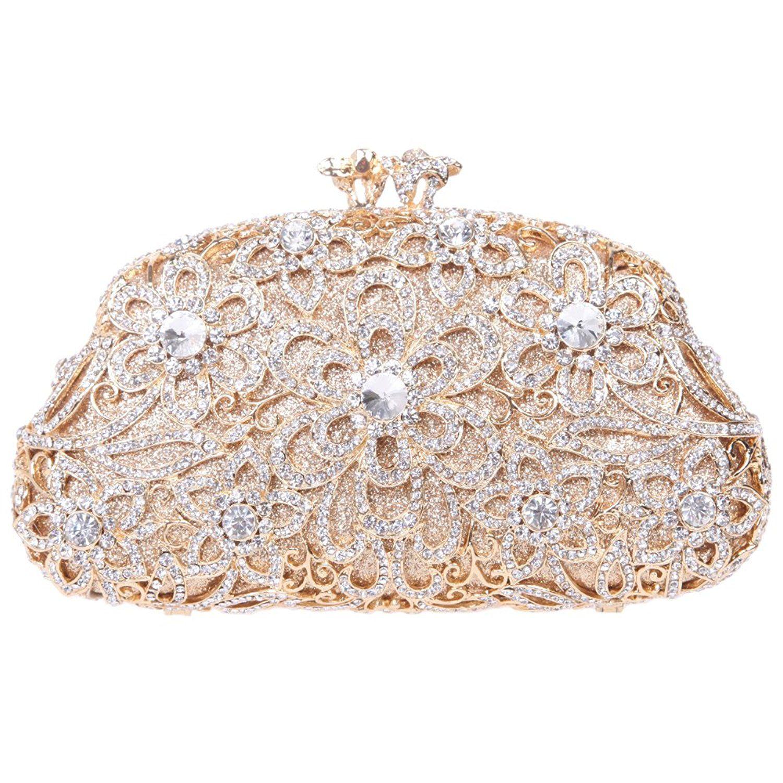 buy online world-wide free shipping 50% price Fawziya Flower Purse Women's Luxury Rhinestone Crystal ...