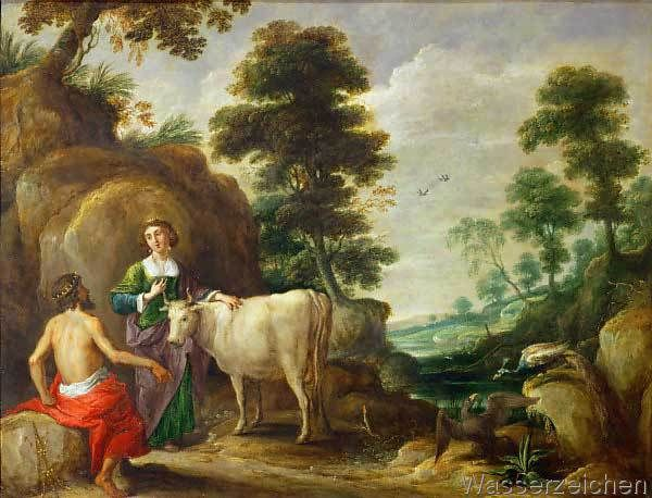 "David Teniers der Ältere - 1638 ""Jupiter hands Io, who has been transformed into a heifer, to Juno""  This is one of the first stories that we are introduced to. After raping Io, Jupiter transforms her into a heifer and gives her to Juno to try and get away with cheating on her"