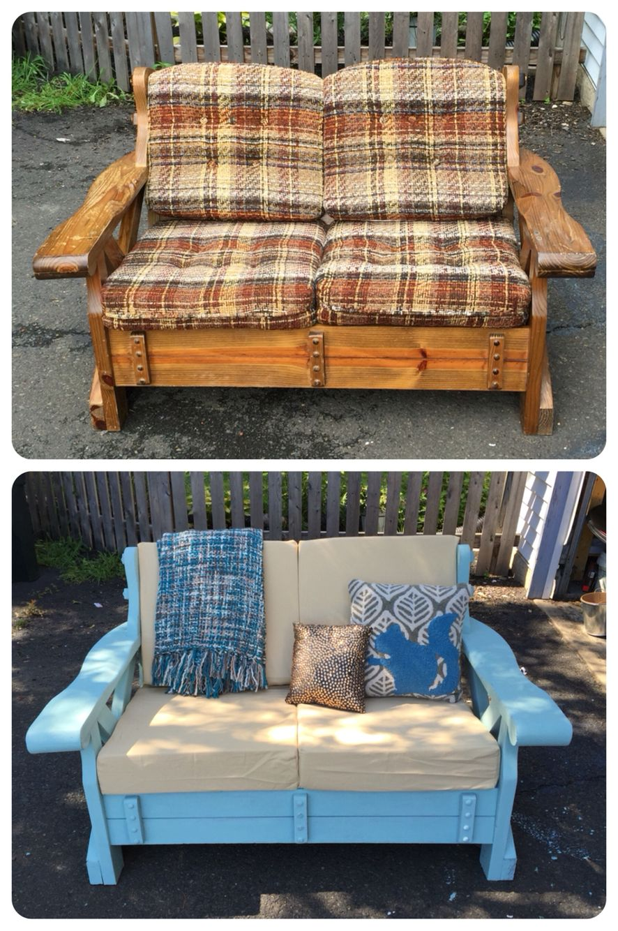 Wooden couch makeover; taken from a neighbor's curb and
