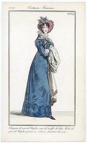 Le Journal des Dames et des Modes 1820 Costume Parisien N°1884