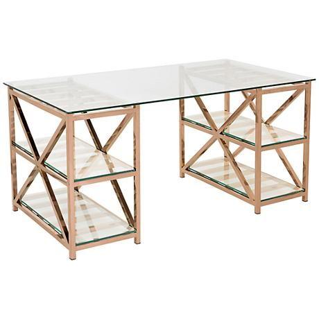 Nelson Rose Gold Steel 4 Shelf Home Office Desk 9f097 Lamps Plus Rose Gold Room Decor Glass Top Desk Gold Room Decor