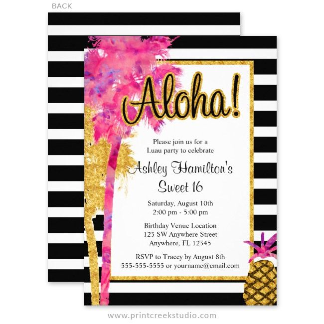 Tropical Luau Teal Pink Sweet 16 Birthday Invitations Sweet 16 - fresh invitation letter for birthday debut
