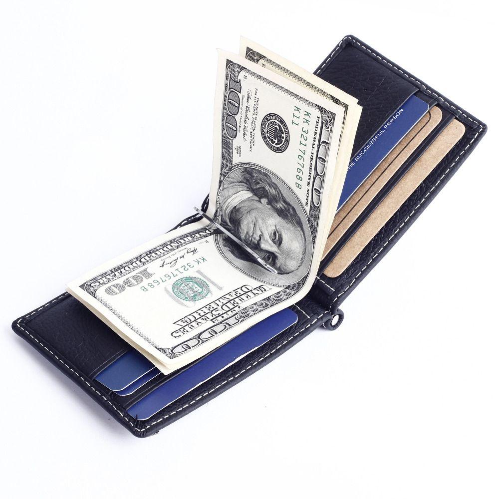 Men Genuine Leather Mini Bifold Wallet Money Clip Slim Credit ID Card Holder