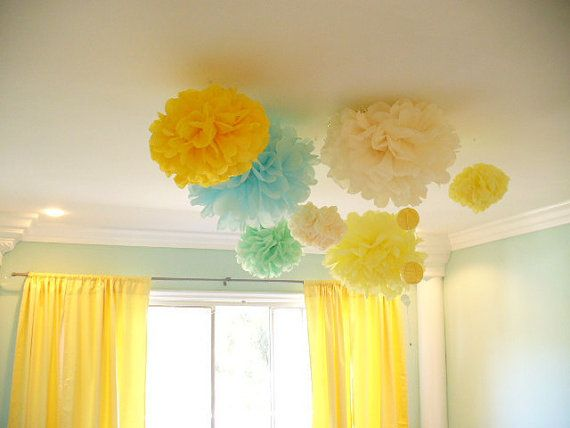 7 Tissue Paper Pom Poms Choose Your Colors by SimplyNesting, $21.00