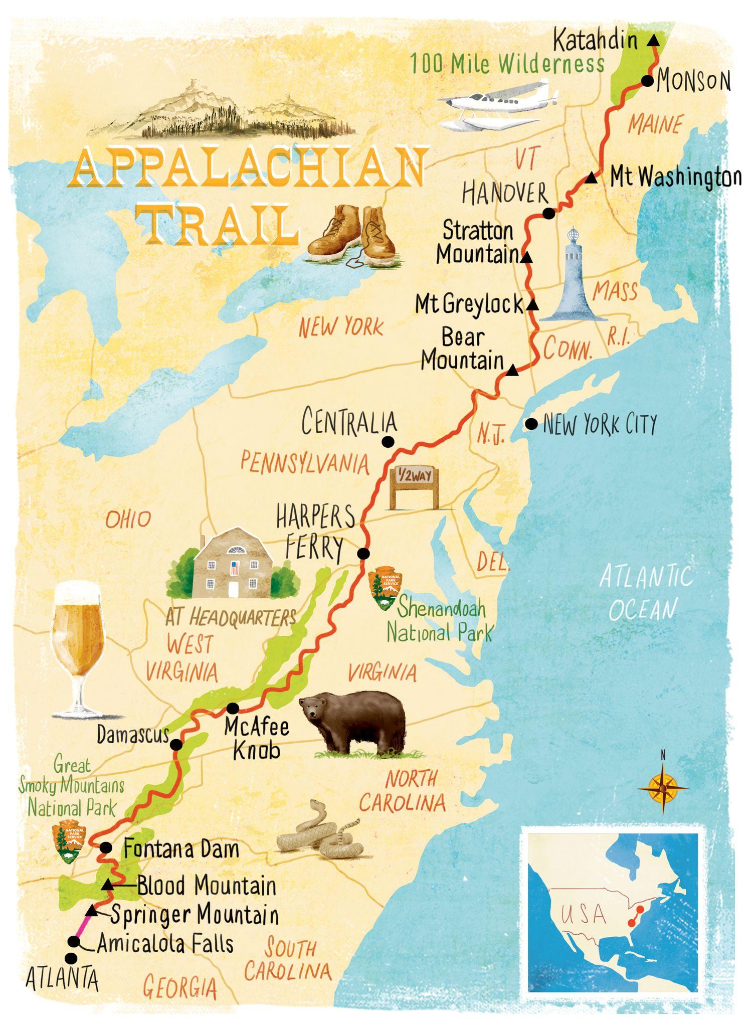 appalachian trail karte Appalachian Trail map Scott Jessop | Trips and sights in 2019