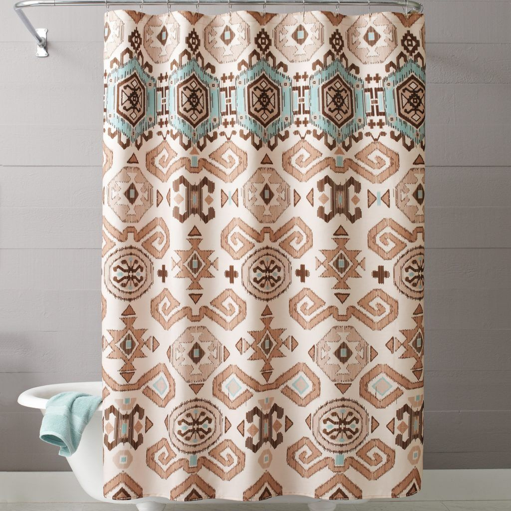 Aztec Print Fabric Shower Curtains Western Bedroom Decor Curtains