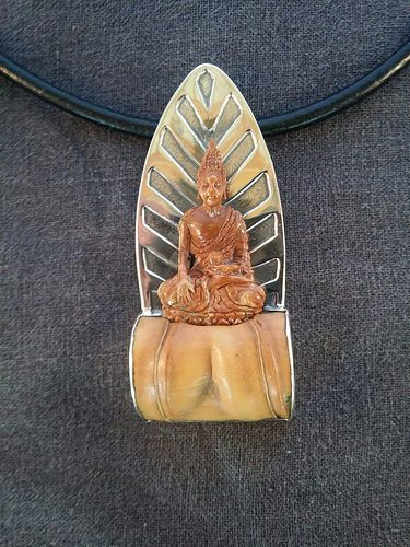 E bu jewelry kindness hand carved mammoth ivory buddha with bamboo e bu jewelry kindness hand carved mammoth ivory buddha with bamboo on sterling silver mozeypictures Images