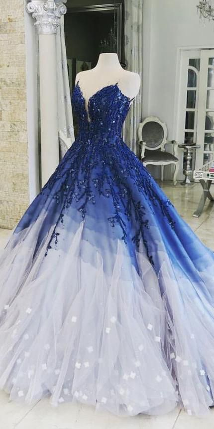 Chic Luxury Ball Gown Scoop Sweep Train Sleeveless Tulle Appliques Long Ombre Prom Dress OHC107
