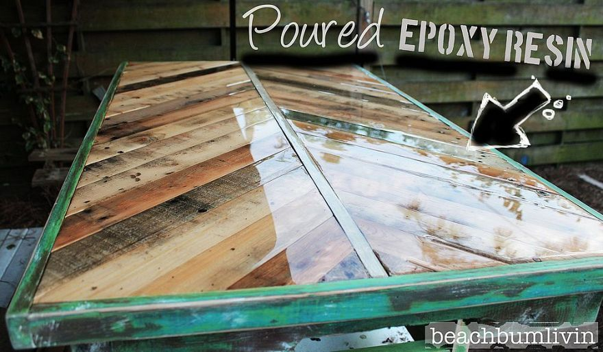 Pallet wood coffee table with a poured epoxy resin finish.