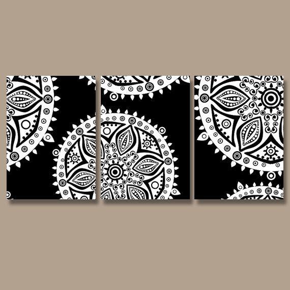 Wall Art Canvas Artwork Aztec Tribal Mandala Ornament Design Black White Set Of 3 Prints Decor