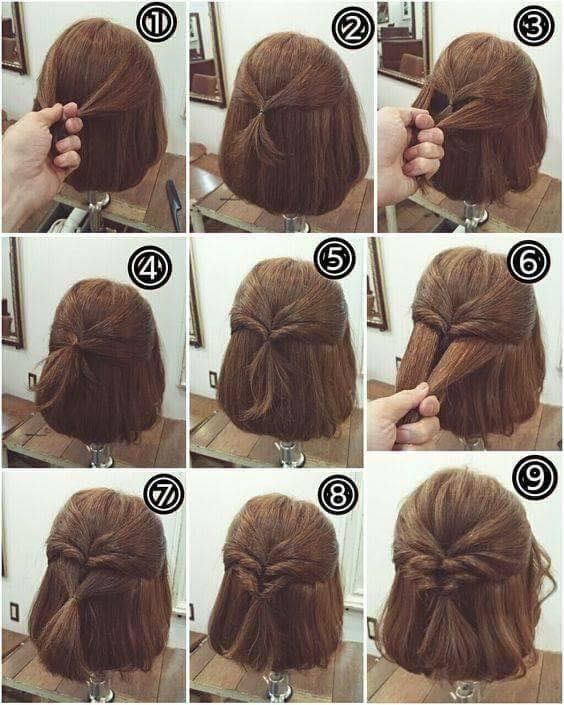 This A Step By Step Of A Cute But Simple Hairstyle With Images Hairdos For Short Hair Short Hair Updo Braids For Short Hair