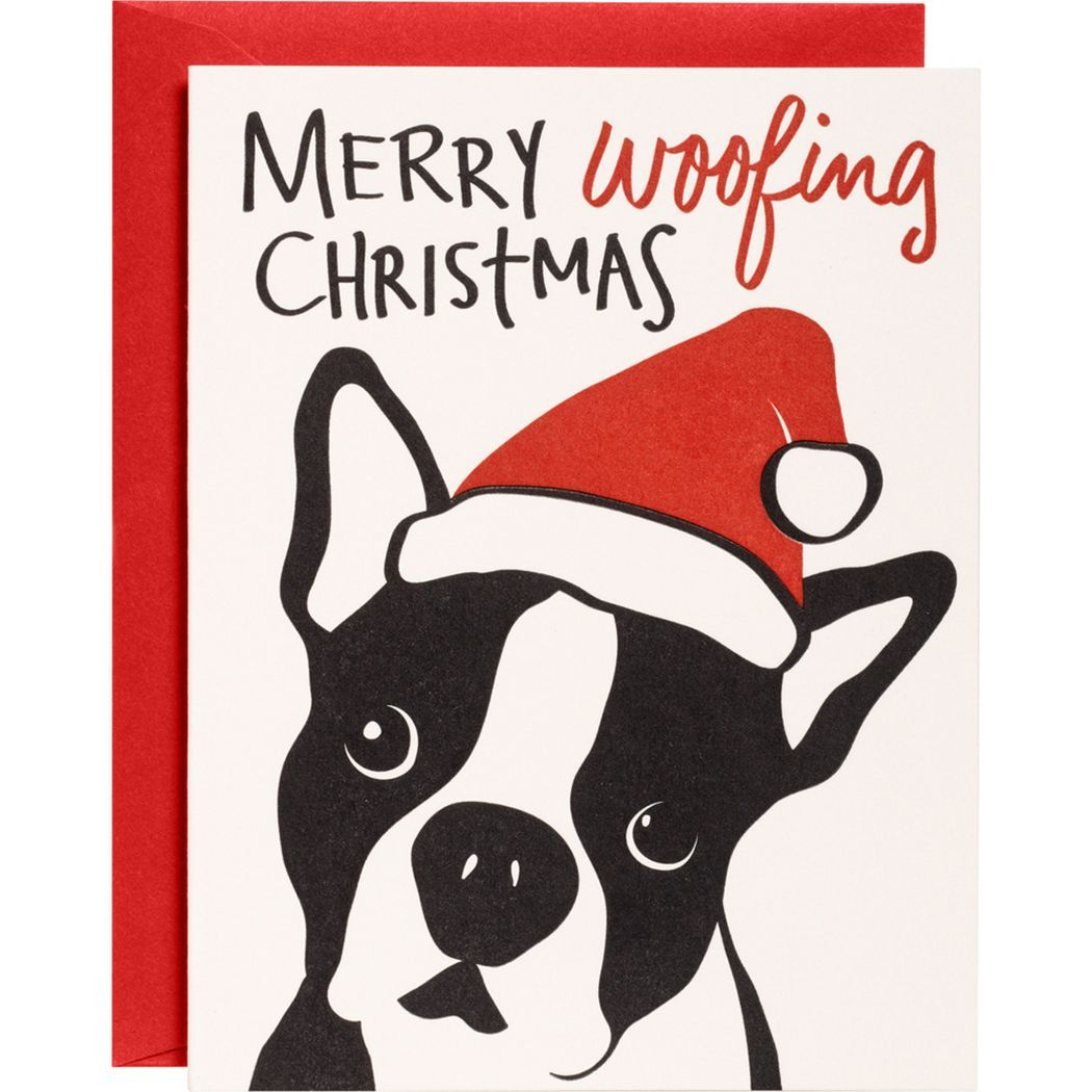 Merry Woofing Christmas Holiday Card - Boston Terrier | Boston ...