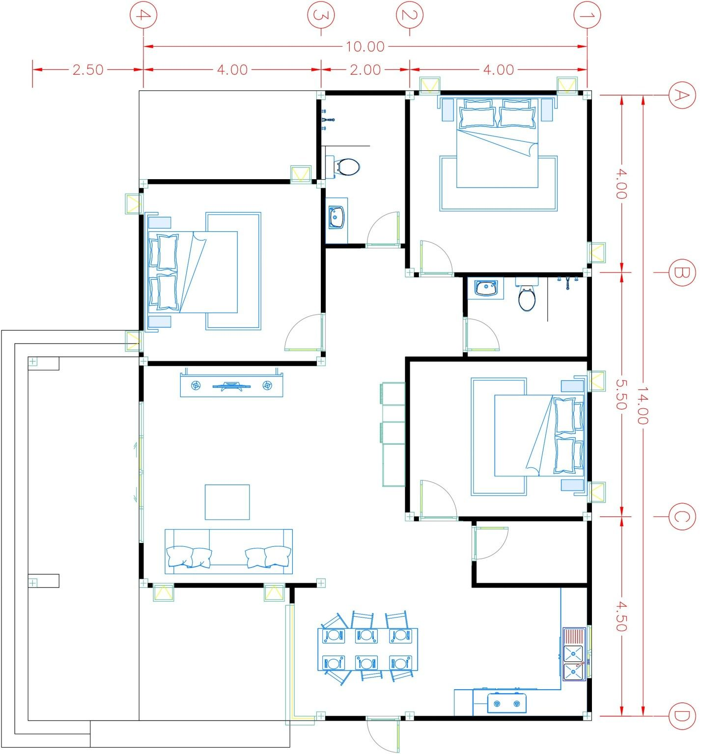 House Plans 14x12 5 With 3 Bedrooms Hip Roof Pujoy Studio House Plans Hip Roof How To Plan