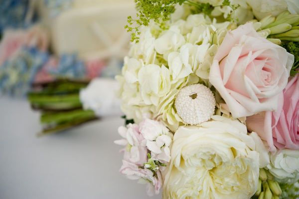 dried sea urchins wired into the bouquet (by soiree floral design and brea mcdonald photography)