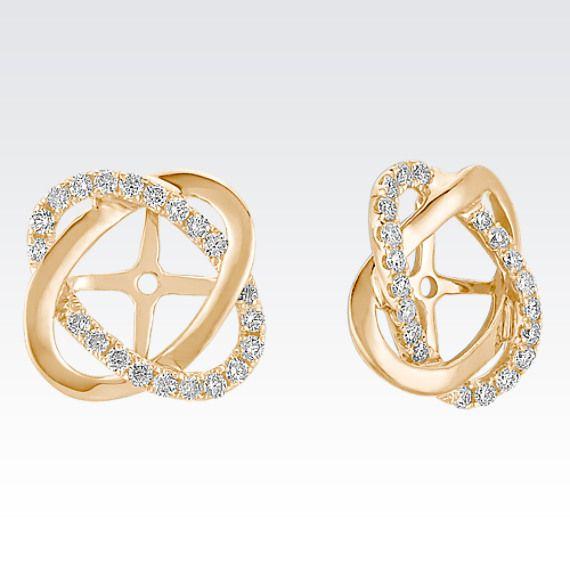 Twist Diamond Earring Jackets In Yellow Gold