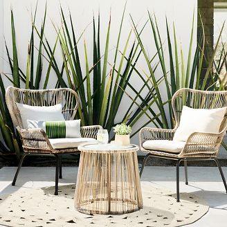 High Quality Threshold Latigo Rattan Patio Chat Set Outdoor Wicker With A Coastal,  Bohemian Feel.