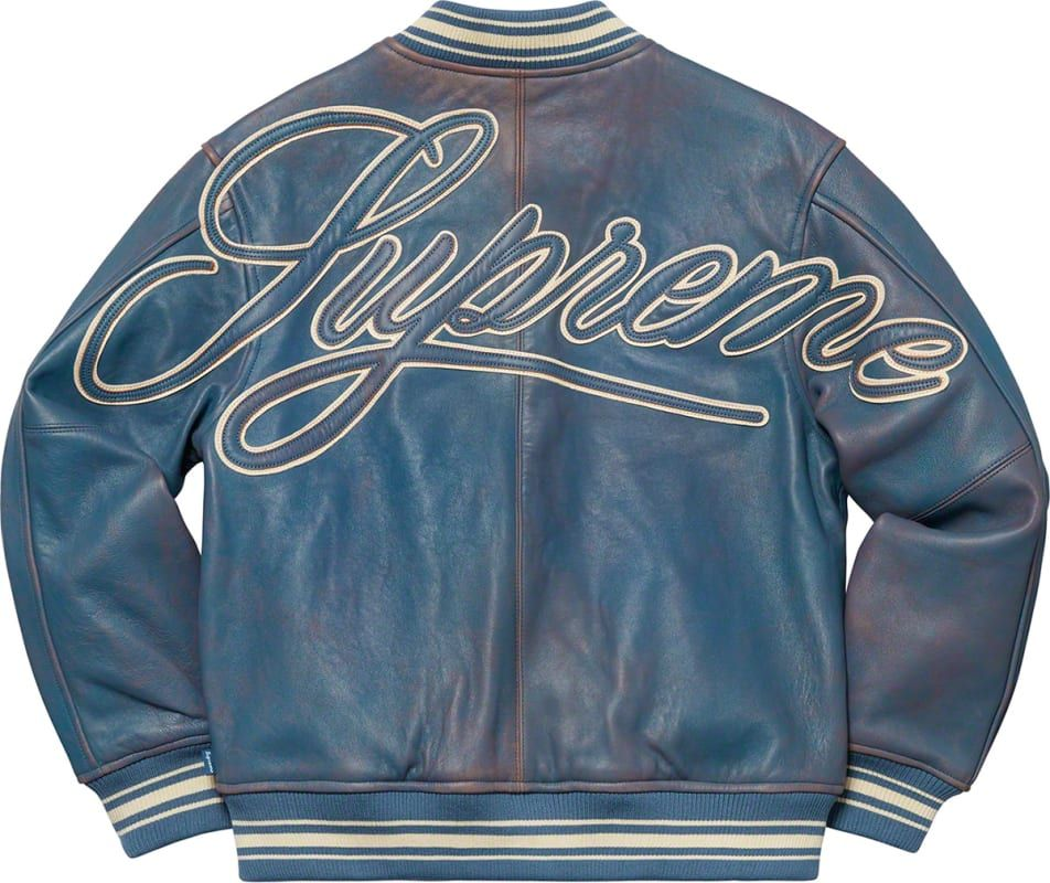 Supreme Uptown Studded Leather Varsity Jacket (2016