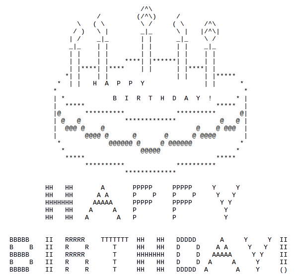 Happy Birthday ASCII Text Art Ascii art, Happy birthday