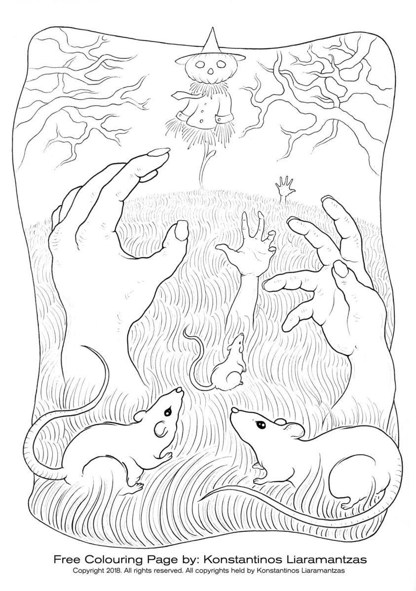 Page zombies halloween pour dessiner par Konstantinos