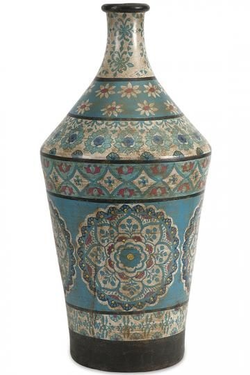 Kabir Hand-Painted Vase - Terra Cotta Vases - Hand-painted Vases - Painted Vases - Flower Vases | HomeDecorators.com