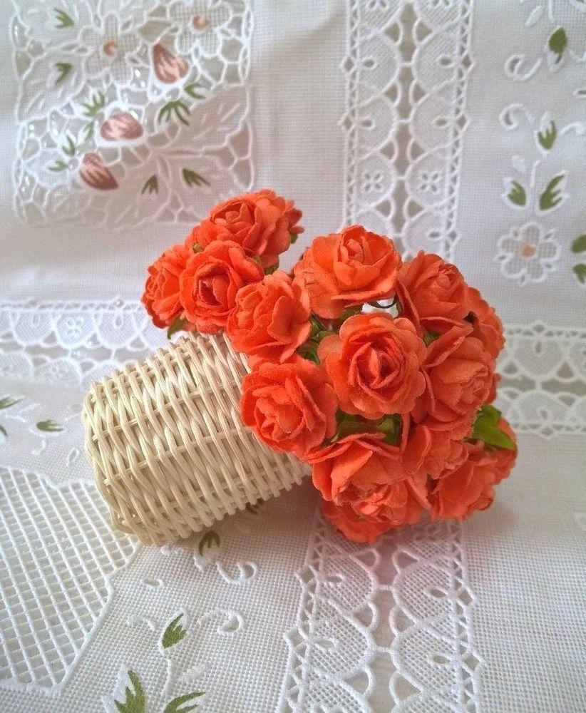 Roses Orange Mulberry Paper Flower Craft DIY Scrapbooking Wedding