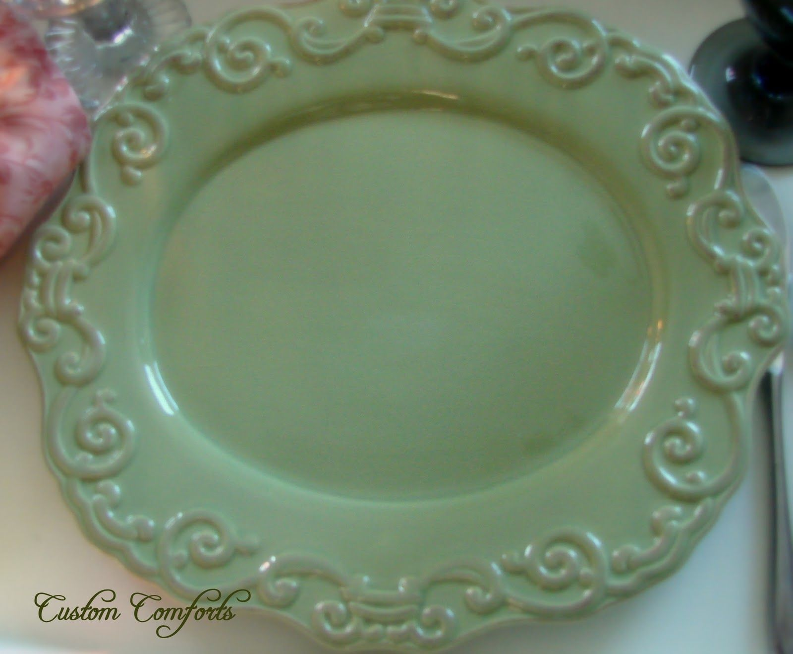 Oval Olive Green Scrolled Plate From Nina Campbell