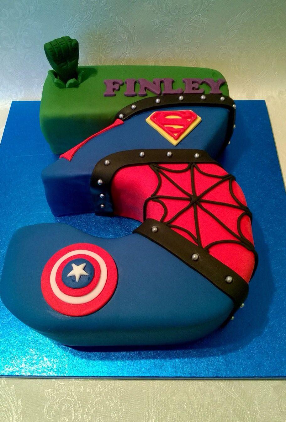 Number 3 shaped superhero cake | Ashton 3 | Superhero birthday cake ...