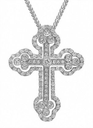 Scalloped Diamond Cross Pendant