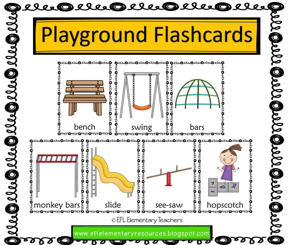 Playground Park Recess Verbs Theme For Elementary Ell Elementary Playground Elementary Resources [ 952 x 1122 Pixel ]