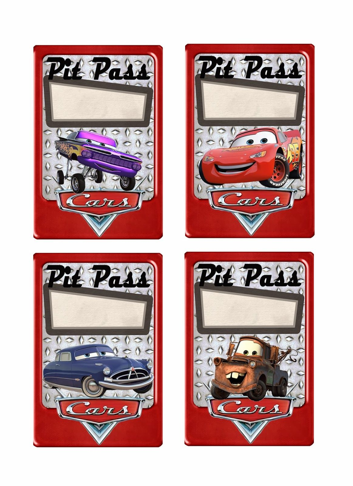 Pit Pass Printables In