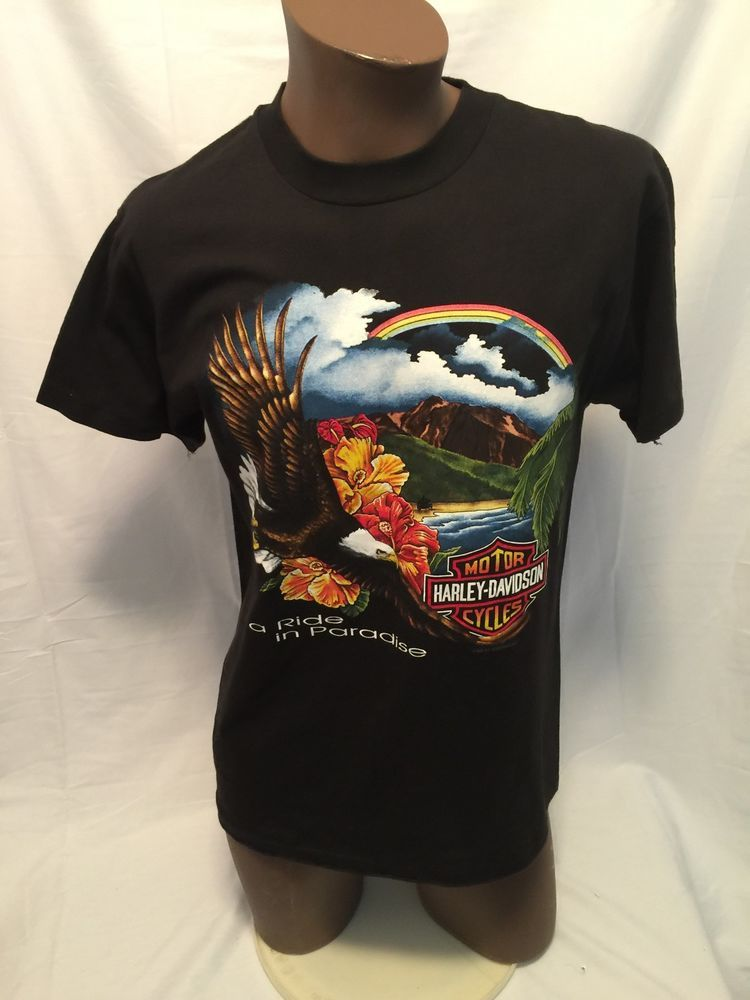 1993 Pacific Harley Davidson M T Shirt Maui Hawaii Aloha A Ride in