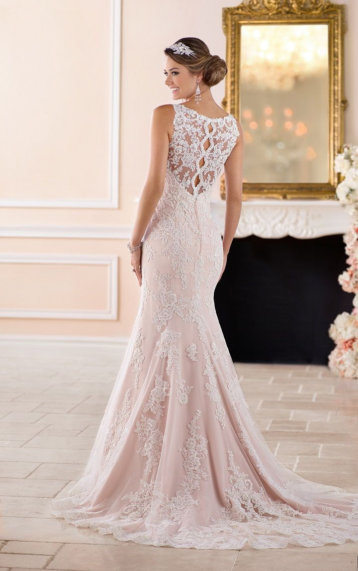 Wedding dress with bow on back  Scalloped lace keyhole back wedding dress by Stella York