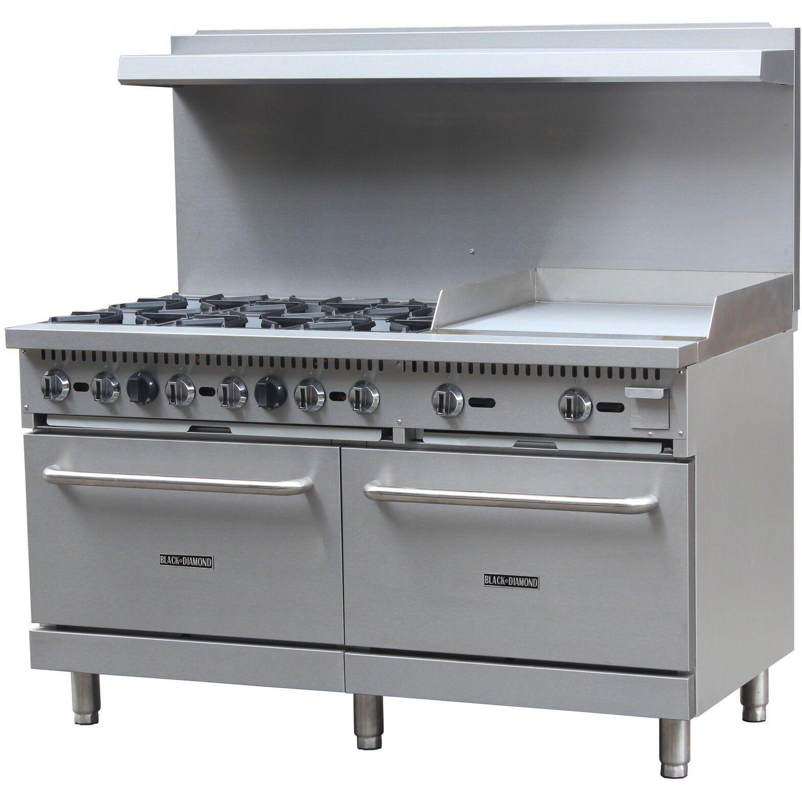 Commercial Kitchen 6 Burner Natural Gas Range with 24 ...