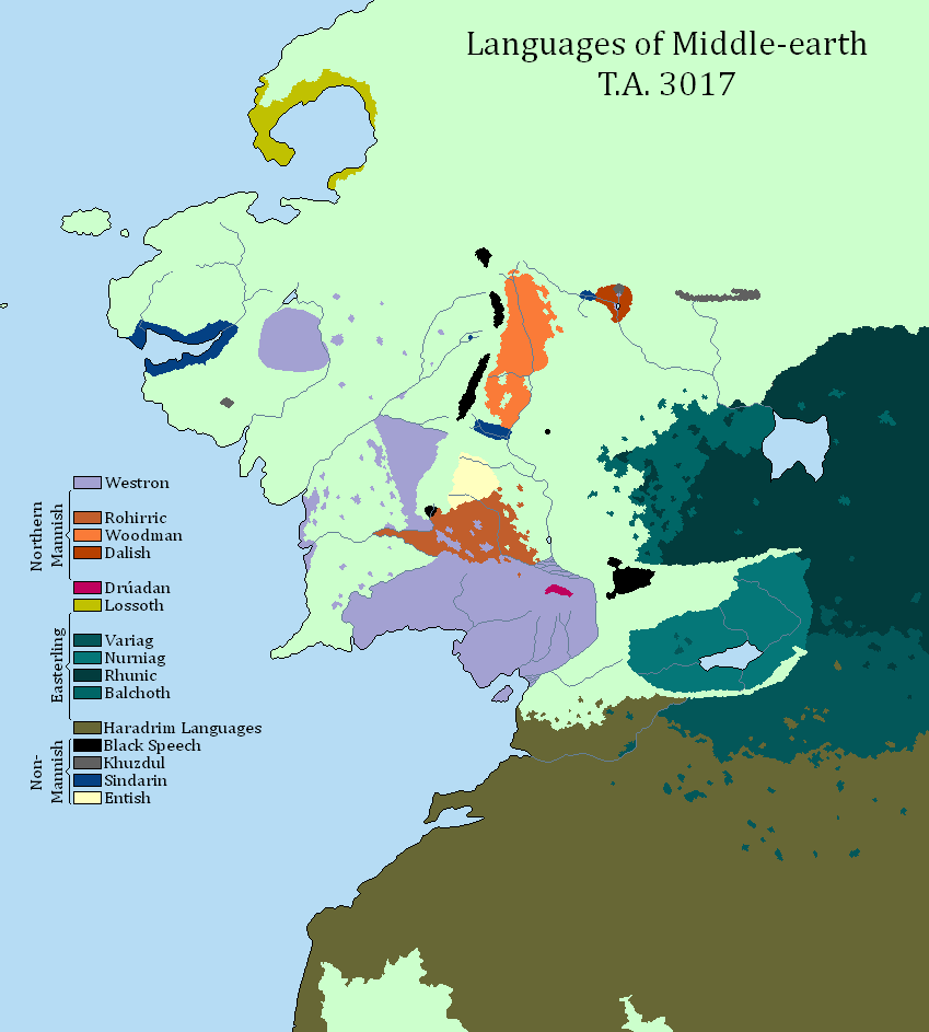 map of the languages of middle earth