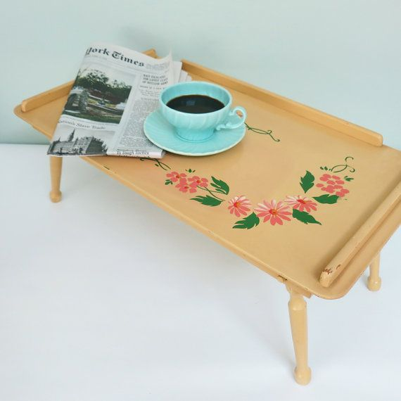 Vintage Wooden Bed Tray Lap Desk Folding Legs Adjustable Tilt Top Yellow With Hand Painted Pink Flowers And Green Leaves Wooden Bed Lap Desk Breakfast Tray