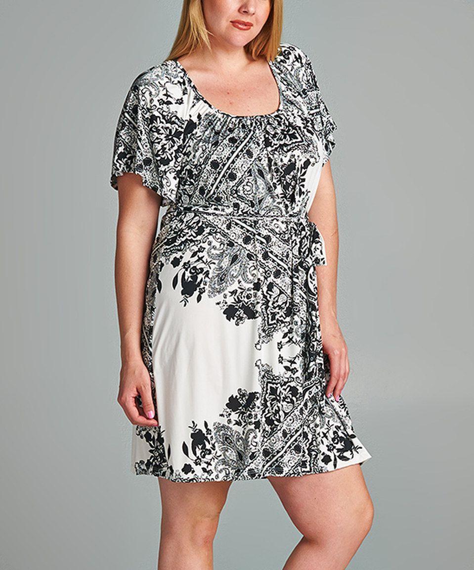 This Tua Plus Black & White Tie-Waist Cape-Sleeve Dress - Plus by Tua Plus is perfect! #zulilyfinds