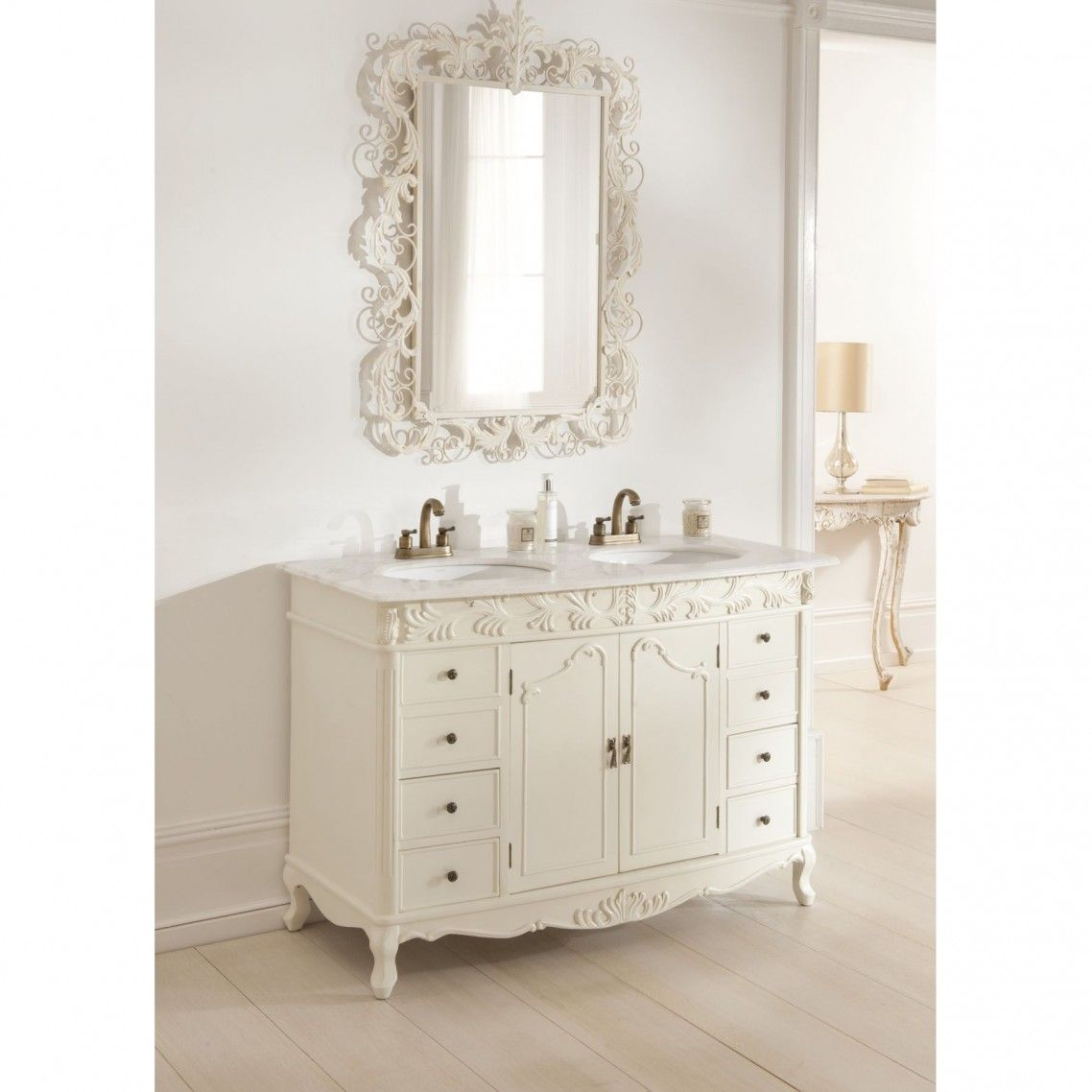 Double Vanity Mirror Double Antique White French Vanity Vanity