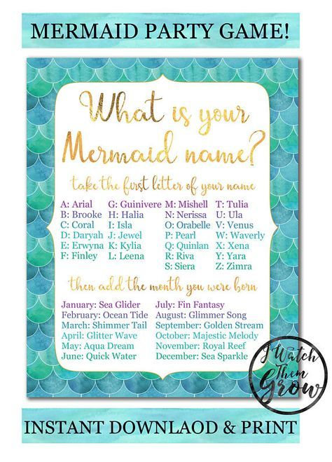Mermaid Party Game Printable What S Your Mermaid Name Game