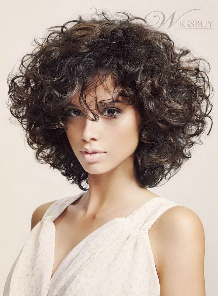 2017 Fashion Trendsetting Fluffy Medium Curly Bob Hairstyle Heavy Hair Density Full Lace Wig About 12 Inches