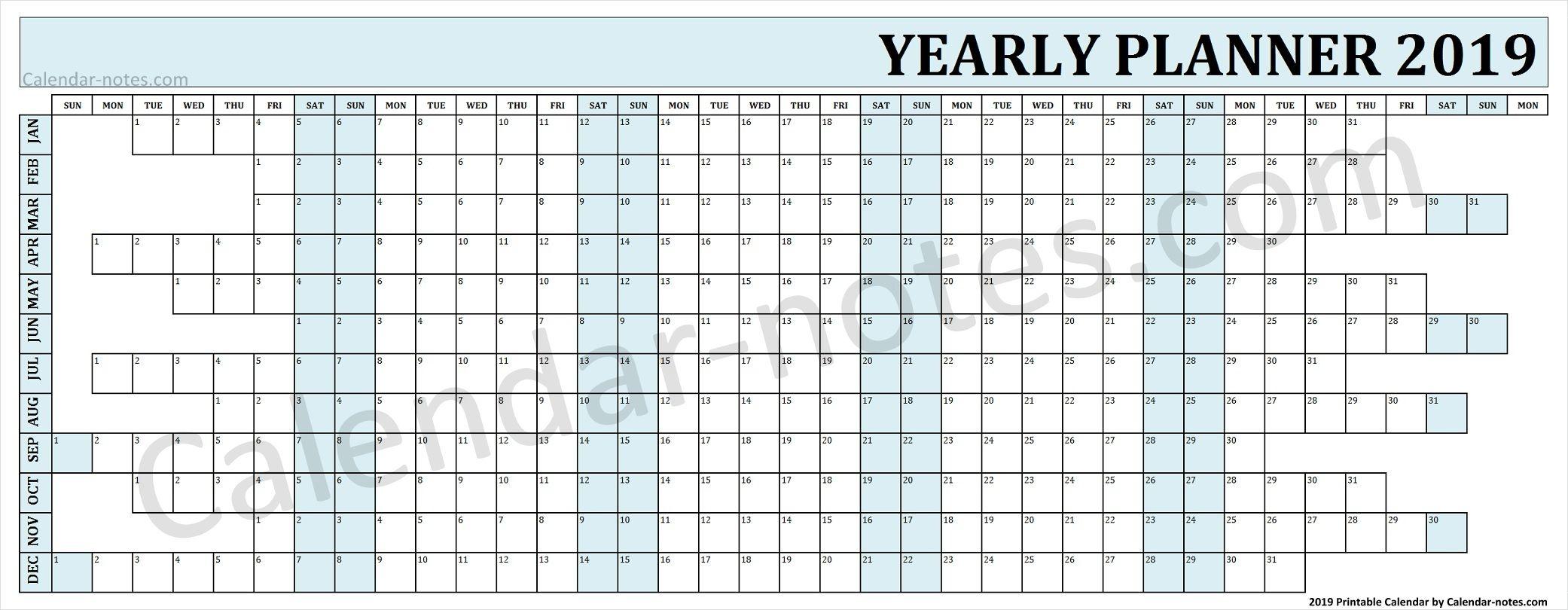 Calendar 2019 Year Planner Yearly Planner Planner Calendar